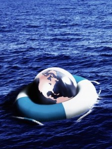 Globe inside personal flotation device